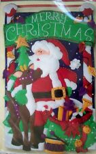 Santa & Rudolph Merry Christmas Banner felt embroidery beads sequins kit unopen