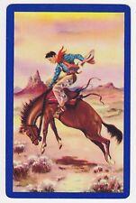 1 Single VINTAGE Swap/Playing Card COWBOY BUCKING BRONCO HORSE Artist Kreuter