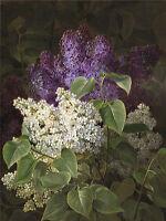 Oil painting Johan Laurentz Jensen Danish artist lilac beautiful spring flowers