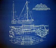 """Sailboat Sloop Sailing Boat 1936 Blueprint Plan 20""""x24""""  (010)"""