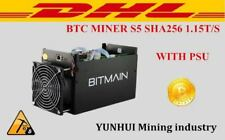 Used BTC Miner Antminer S5 1150g 28nm Bm1384 Machine Asic With Power Supply DHL