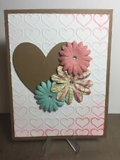 Card Kit Set Of 4 Stampin Up Heart Embossed Paper Flowers Blank Valentine's Day