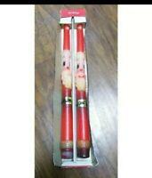 "Vintage EMKAY Set of 2 Santa Claus Tapers Tapered 12"" Christmas Candles Unused"