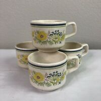 Set 4 Vtg Lenox Temperware Summer Spice Mugs Floral Microwave Dishwasher Safe