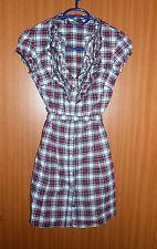 Kleid Karo Longbluse Tally Weijl Blusenkleid schwarz rot weiß Gr. 34 32 XS