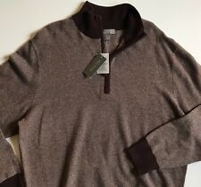 Daniel Cremieux Men's Sweater 1/4 Zip Wool Cashmere Brown Heather Sweater XL NWT