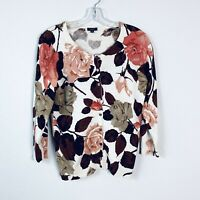 Talbots Womens sz XS crew neck Big Floral Print Button Up Cardigan Sweater