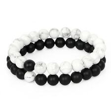 Couples His and Hers Bracelet White Howlite & Matte Agate Distance Bracelet C03
