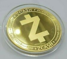 ZEC Zcash 24 k Gold Plated Crypto currency. 1.2 oz. Gold Novelty Coin