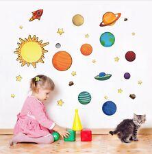 Kids Bedroom Stickers Solar system Planets Stars Fun Decor Vinyl effect UK