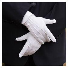 1 Paire Blanc Gants Polyester Parade Ordre Sécurité Cadets Armée Police Bandeau