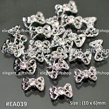 10pcs Alloy Jewelry Nail Art Decoration Silver Glitter Hollow Bow Knot #EA039