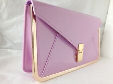 NEW NUDE CORAL LILAC NAVY BLUE WHITE FAUX PATENT LEATHER EVENING DAY CLUTCH BAG