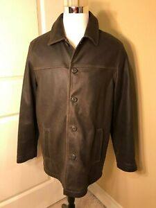Men's Columbia Leather Winter Coat Jacket Brown Fully Lined Button up Size M