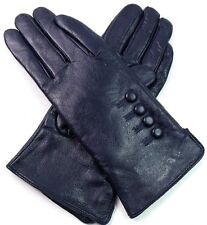 Womens Ladies Premium Quality Soft Real Leather Gloves Winter Driving Lined Navy X Large