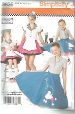 Simplicity Sewing Pattern 3836 Kids Diner Waitress Poodle Skirt Dance Costume