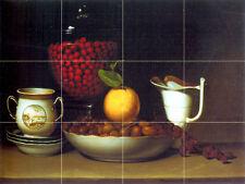 Art Raphaelle Peale Mural Ceramic Fruits Strawberries Decor Tile #854