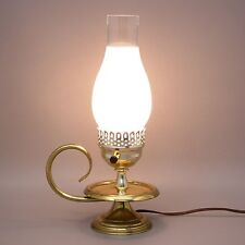 "Vtg 14"" Brass Candle/Oil Style Electric Table Lamp Hurricane Frosted Handle Loop"