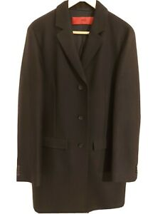 Men's Hugo Boss black full length wool coat size 38 regular