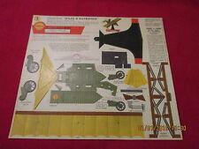 """Ancien cartonnage publicitaire Shell Avion """"ailes d'autrefois"""" Chariot à vapeur"""