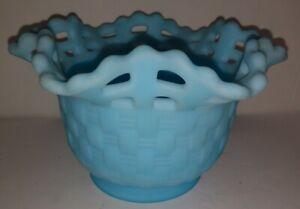 "Fenton Satin Powder Blue Basket Weave Vase Bowl Open Lace Ruffled 3.25"" tall VTG"