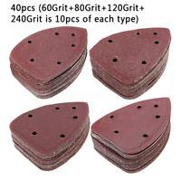 40pcs 40mm Mouse Sanding Sheets Detail Palm Sander Sandpaper 60 80 120 240 Grit