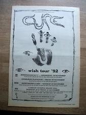 CURE - WISH TOUR '92 + UK DATES - ORIGINAL ADVERT POSTER SIZE 1992 - 16 X 11
