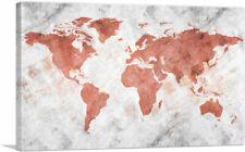 ARTCANVAS Coral White World Map Globe Canvas Art Print