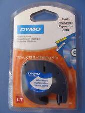 Dymo LetraTag WHITE Plastic Refill Tape Cartridges Dymo Letra Tag #91331 NEW