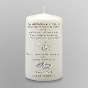 Personalised Remembrance In Memory Wedding Candle Gift Keepsake Large
