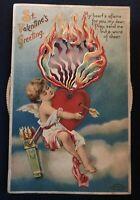 Clapsaddle~Mechanical Kaleidoscope Valentine~Cupids~Heart~Spinner Postcard-b606