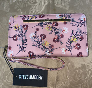 STEVE MADDEN WALLET WRISTLET FLORAL BLUSH ORGANIZER Gold Zipper SO PRETTY!