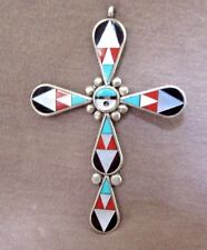 Older Zuni Large Traditional Inlay & Sterling Cross Pendant by Zeno Edaaki JP140