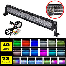 """22"""" inch 120W Offroad LED Light Bar Combo w/ RGB Halo Chasing 12V Remtoe Control"""