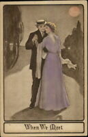 Romance - Fancy Couple in Moonlight WHEN WE MEET Hand Colored Postcard