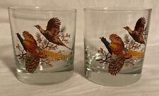 New listing Set 2 Pheasant Old Fashioned Rocks Whiskey Glasses Tumblers