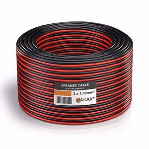 25m Zwillingslitze 2x 1,5mm² Lautsprecherkabel Boxenkabel rot/schwarz 2-adrig