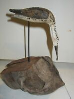 Rustic Carved Whimbrel bird  on wood base signed and numbered