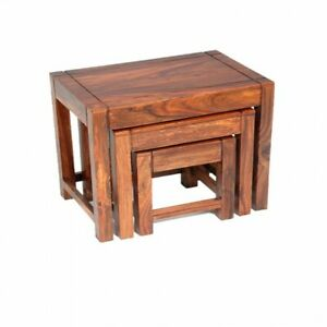 Wooden Nest Of 3 Tables made from pure Shesham Wood