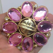 Vintage FLOWER BROOCH PIN Pink Clear Rhinestone Gold Tone Costume Jewelry