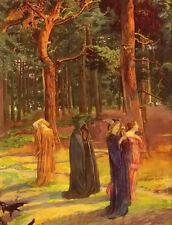 Oil painting John Byam Liston Shaw - a dirge figures in forest landscape canvas