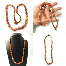 Antique Old African Carnelian Agate Stone Beads Strand Necklace