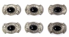 Vintage Al Beres USA Hand-Chased Sterling Silver & Onyx 6-Piece Belt Concho Set