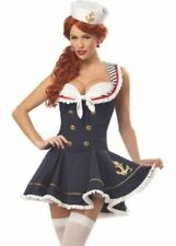 Sassy Sailor Girl Costume Sexy Ladies Navy Fancy Dress Womens Outfit 8-22