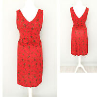 Joe Browns Dress 16 Red Floral V Neck Midi Stretch Wedding Party Formal NEW NWT