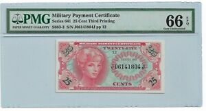 25 Cent Military Payment Certificate : PMG 66 EPQ  Series 641
