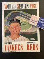 1961 New York Yankees Mickey Mantle Roger Maris World Series Program Schedule