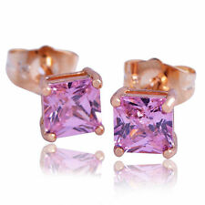 Womens Pink Crystal Stud Earrings yellow Gold Filled Free Shipping