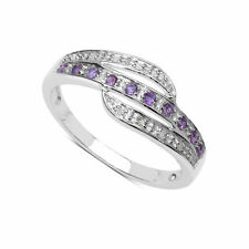 Amethyst Round Sterling Silver Fine Diamond Rings