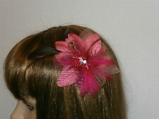 Juelz Cerise Pink Flower Beads Feather Fascinator / Comb Wedding Prom*